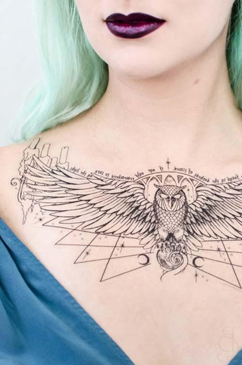 woman chest geometric owl tattoo boyun altı geometrik baykuş dövmesi