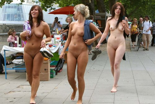 nude woman walking down the street