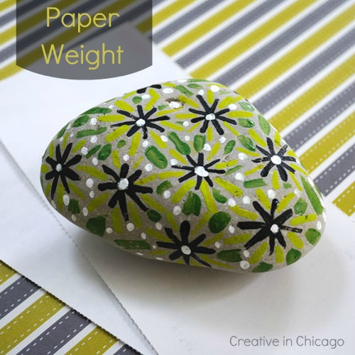 painted rock paper weight