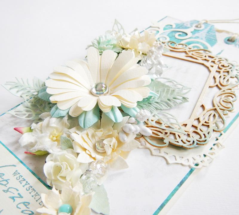 Kartka ślubna z turskusem ręcznie robiona