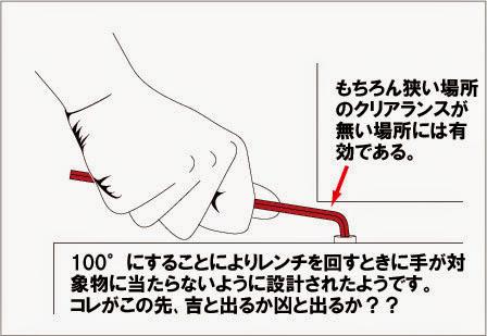 PBスイスツールのショートヘッドヘキサゴンレンチの曲げ角度100°の有効性と利点
