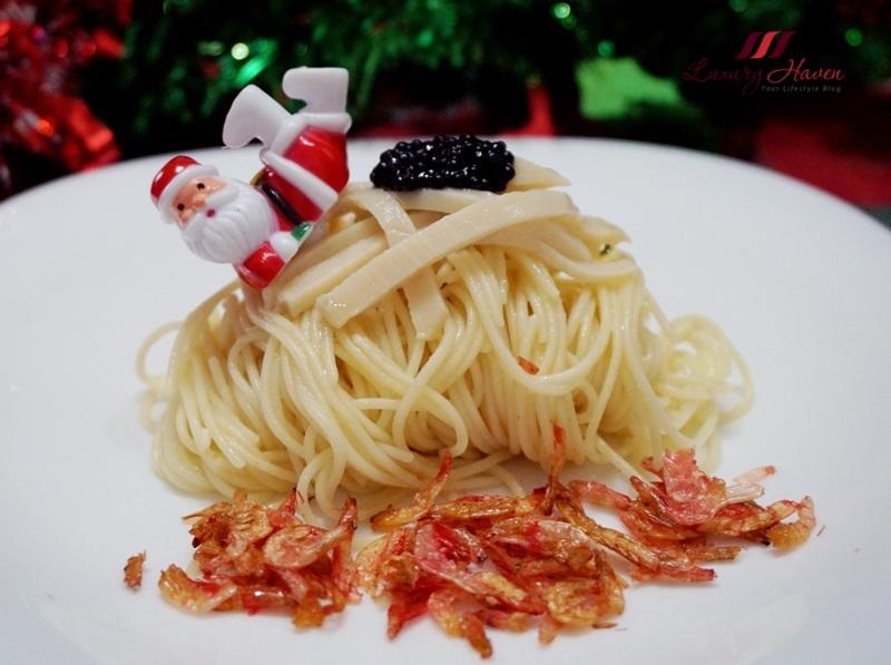 santa chilled capellini pasta truffle oil abalone caviar