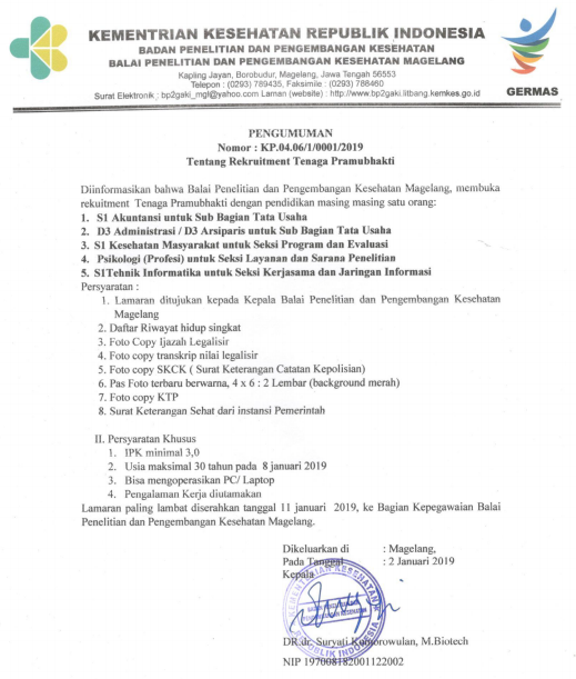 Lowongan Kerja Balai Penelitian Dan Pengembangan Kesehatan Magelang Rekrutmen Lowongan Kerja Bulan Februari 2021