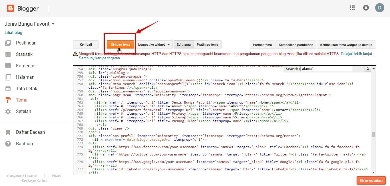 Mencari Kode Template Blog