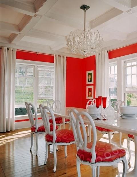 diseño comedor blanco y rojo