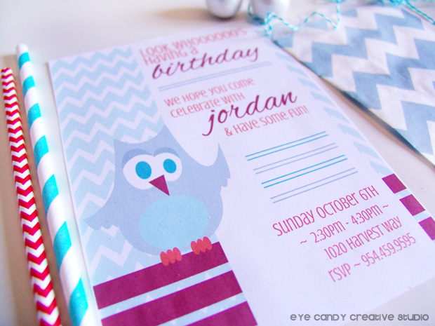 owl invite for fall birthday party, chevron, fall colors, straw, chevron favor bag