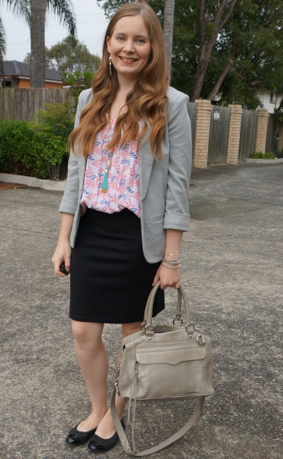boho office style wavy hair jersey blazer pencil skirt and printed tank with rebecca minkoff MAM | awayfromblue