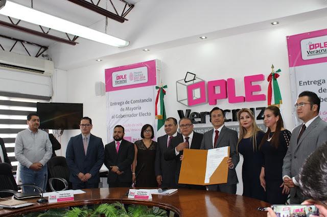 Cuitláhuac García hace reconocimiento al OPLE y al INE por abrir otro camino de confianza en las instituciones