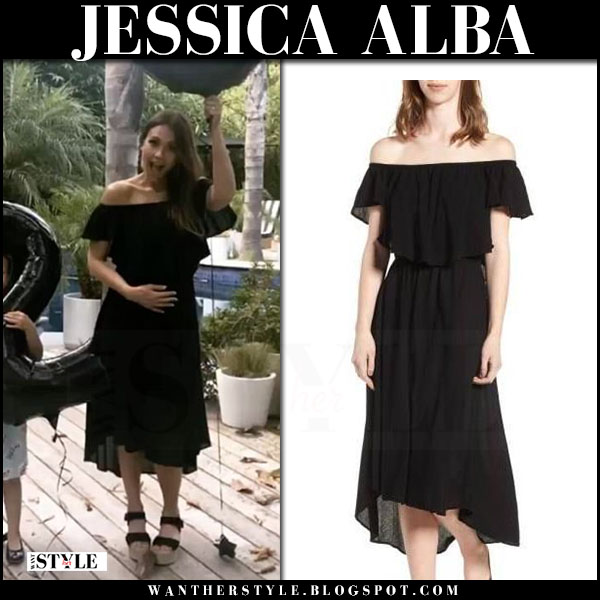 Jessica Alba in black off shoulder midi dress mcguire pregnancy reveal video 2017 what she wore maternity fashion