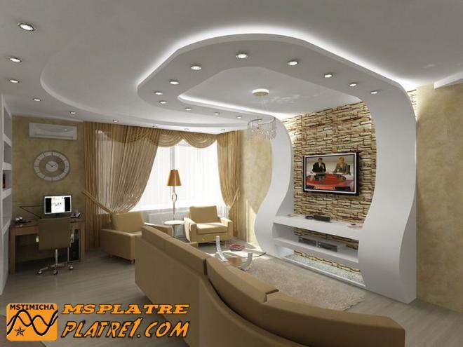 Decoration Salon Avec Platre #3: Décor En Platre Pour Mur