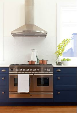 COCOCOZY: HOOD TASTE IN THE KITCHEN - WALL MOUNT STAINLESS RANGE - Blue Range Cooker White Cabinet
