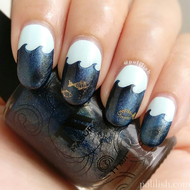 Marine nail art with Masura magnetic polish | polilish