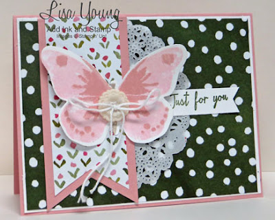 Stampin' Up! Watercolor Wings stamp set with English Garden paper. Handmade Butterfly card by Lisa Young, Add Ink and Stamp