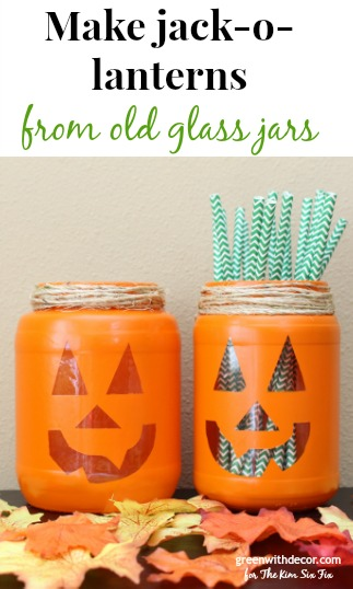 Make these cute jack-o-lanterns from old pickle jars with some orange spray paint. What a fun Halloween craft!