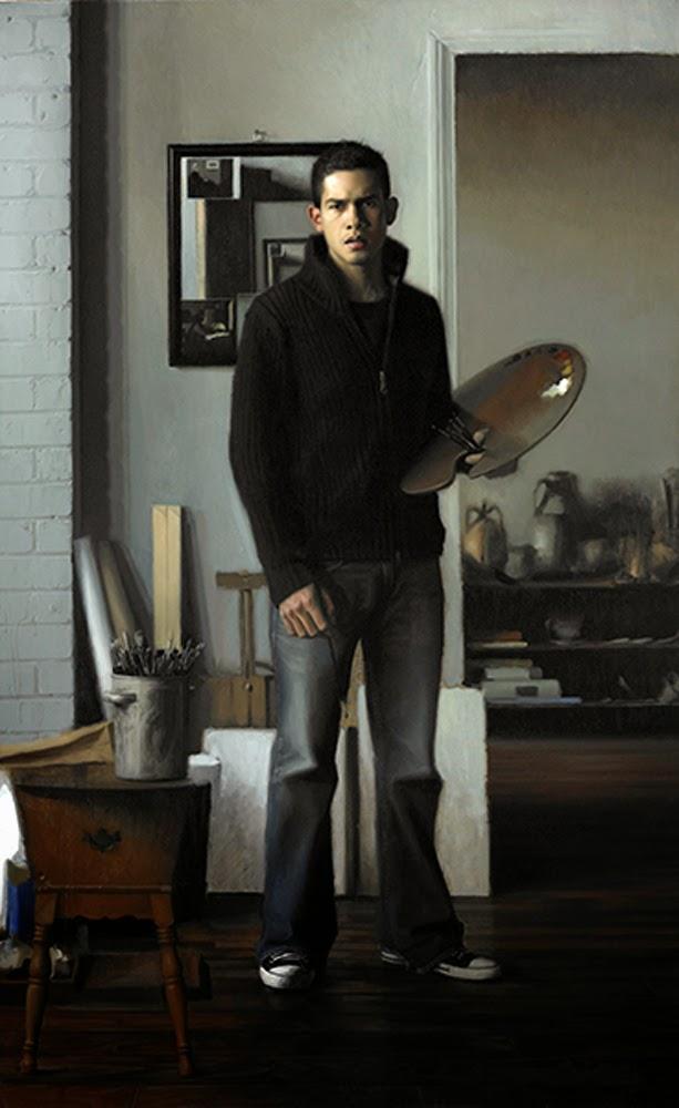 Jesus Emmanuel Villarreal, Self Portrait, Portraits of Painters, Fine arts, Portraits of painters blog, Paintings of Emmanuel Villarreal, Painter Emmanuel Villarreal