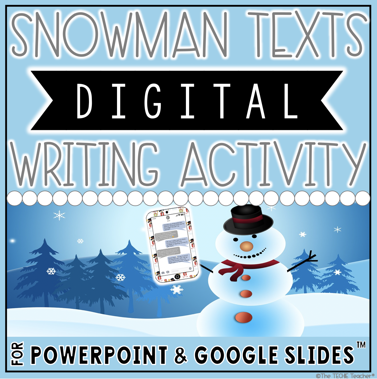 "Holiday Texts for Google Slides and PowerPoint is a fun digital writing activity for the month of December. Come grab a free download for Snowman Texts and read about other ""cell phones"" for Santa, a reindeer, a gingerbread man and an elf."