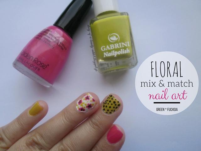 Floral Mix & Match Nail Art [Green, Fuchsia]