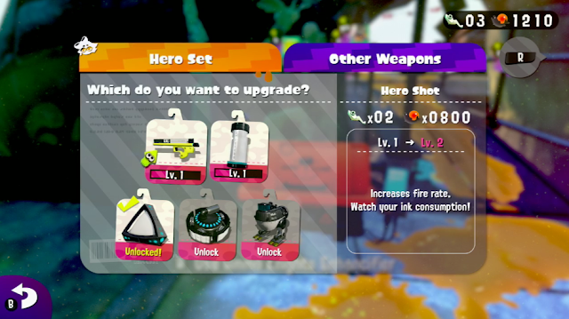 Splatoon 2 single player Hero Mode upgrade weapons power eggs Sardinium Ammo Knights Enchancifier