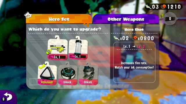 Splatoon 2 single player Hero Mode upgrade weapons power eggs Sardinium Ammo Knights Enchancifier