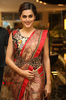 Tapsee Pannu Latest Stills in Red Silk Saree at Anando hma Pre Release Event .COM 0029.JPG