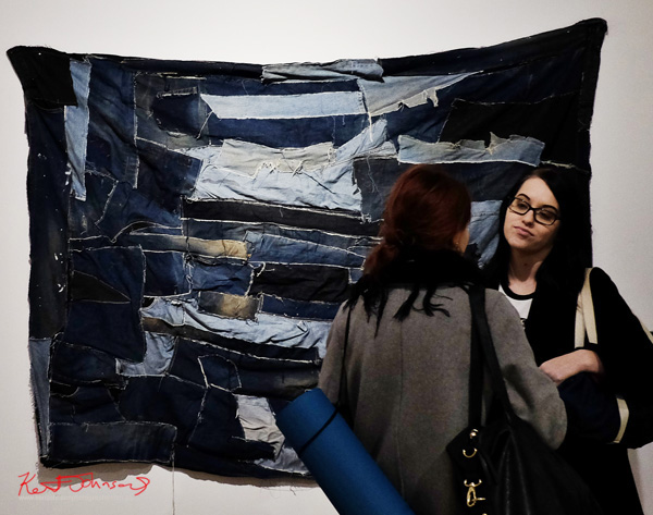 Upcycled denim as wall hanging at Tyrannium by Dionysos Anton  - Photography by Kent Johnson.