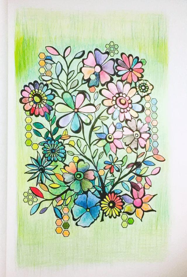 花のコロリアージュ 油性色鉛筆