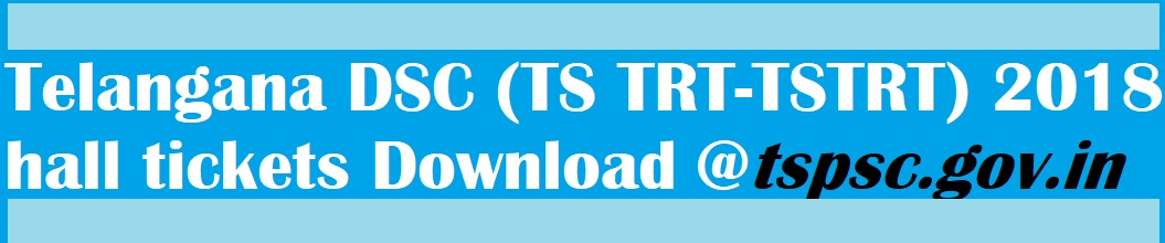 Telangana DSC (TS TRT-TSTRT-Telangana TRT) 2018 hall tickets Download it at tspsc.gov.in