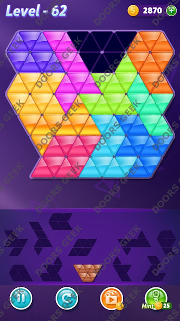 Block! Triangle Puzzle Challenger Level 62 Solution, Cheats, Walkthrough for Android, iPhone, iPad and iPod
