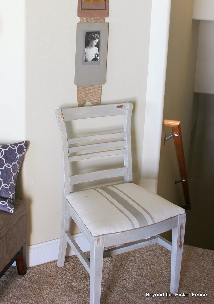 chair makeover simple seat french linen http://bec4-beyondthepicketfence.blogspot.com/2014/02/simple-seat.html
