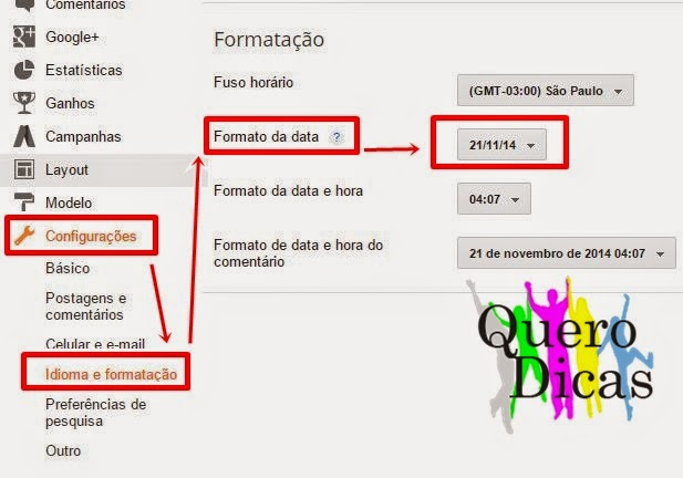 Como alterar a data do Blog