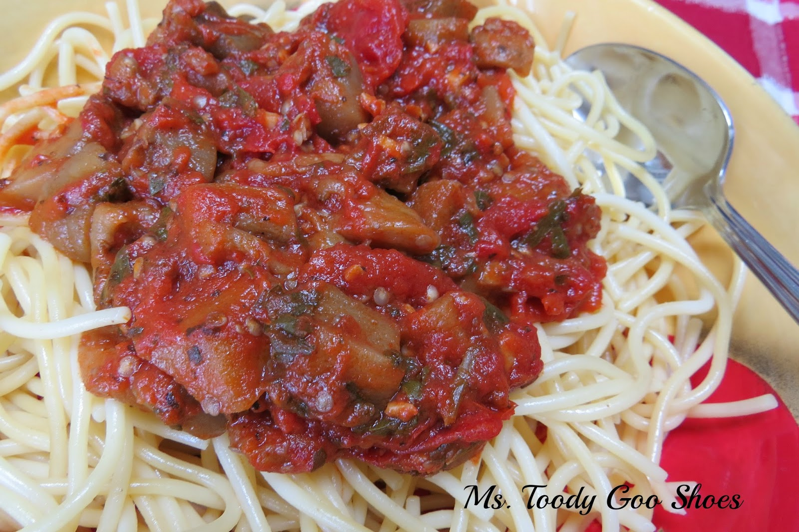 Spaghetti with Eggplant Sauce - Perfect for a winter night - by Ms. Toody Goo Shoes