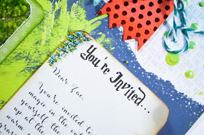 Bright, bold, colorful scrapbook layout page using banners, We R Memory Keepers mini-alpha punch, mixed media paint, prills, and machine stitching. Done in navy, turquoise, red, and lime green.