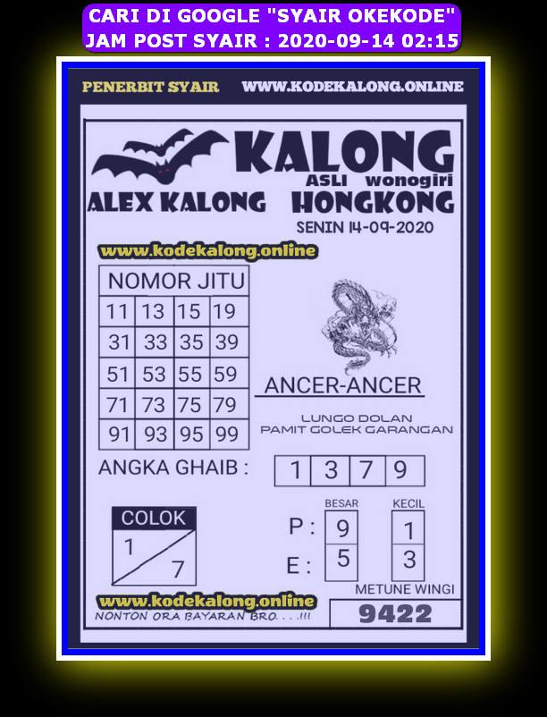 Kode syair Hongkong Senin 14 September 2020 223