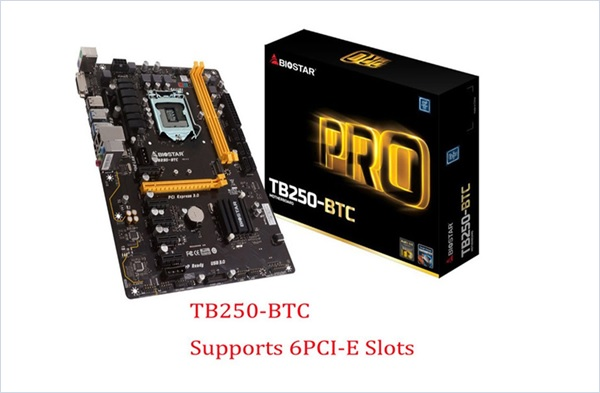 Mining Motherboard BIOSTAR TB250-BTC Motherboards 6 PCIE