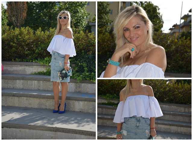 outfit top off the shoulder outfit bianco gonna di jeans strappata mariafelicia magno fashion blogger color block by felym fashion blog italiani fashion blogger italiane blog di moda blogger italiane web influencer italiane