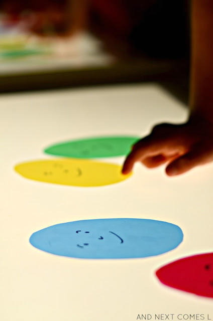 Nursery rhyme inspired light table activity for kids from And Next Comes L
