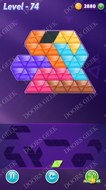 Block! Triangle Puzzle Advanced Level 74 Solution, Cheats, Walkthrough for Android, iPhone, iPad and iPod
