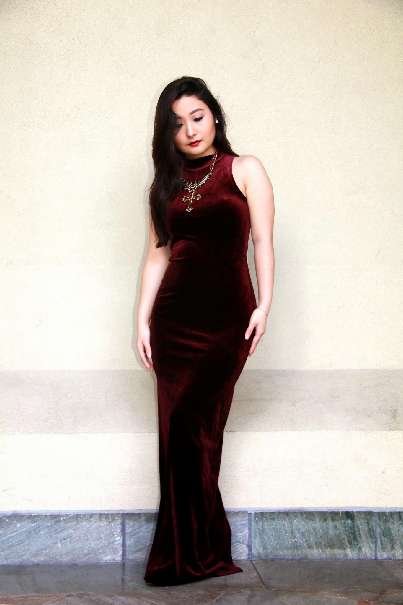 Burgundy Velvet Dress @  Elizabeth, Marie, & Me