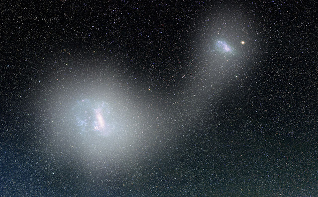 A bridge of stars connects two dwarf galaxies
