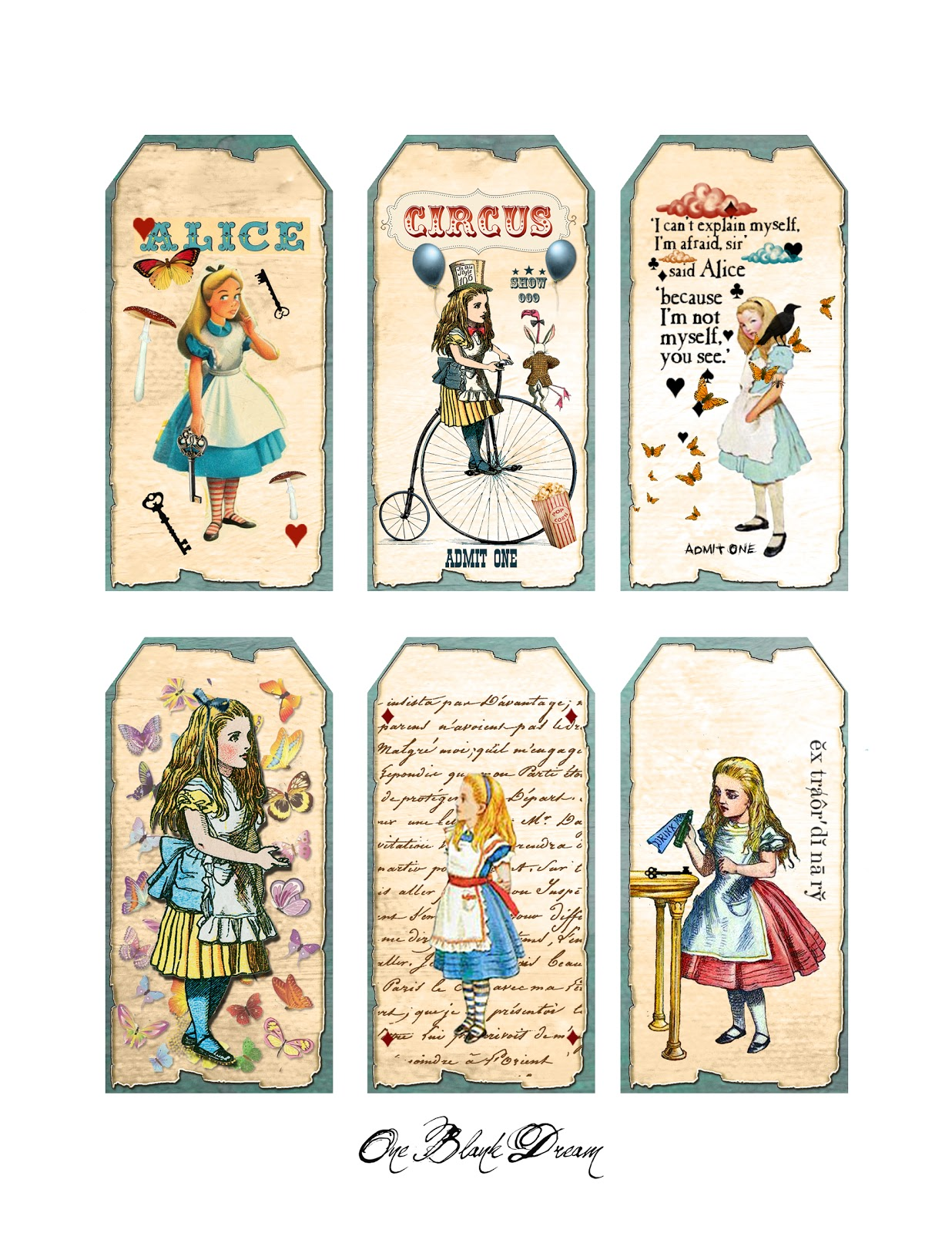 One blank dream september 2013 for Alice in wonderland tags template