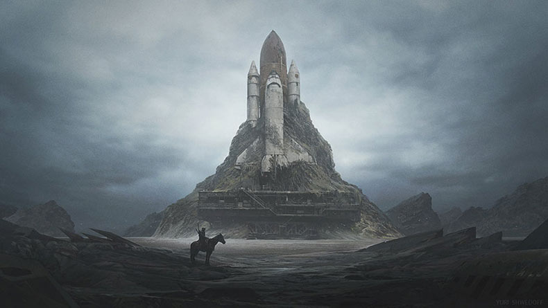 Mundos Oscuro post-apocalíptico por Yuri Shwedoff