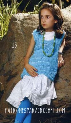 Remera calada al crochet para nenas