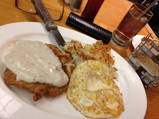 magnolia's country fried steak and eggs with country throw-up gravy CTUG