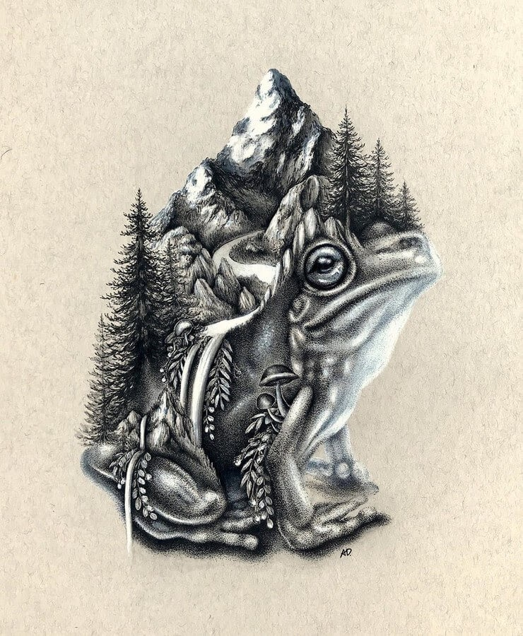 09-Frog-Alyse-Dietel-Animal-Drawings-Surrealism-www-designstack-co