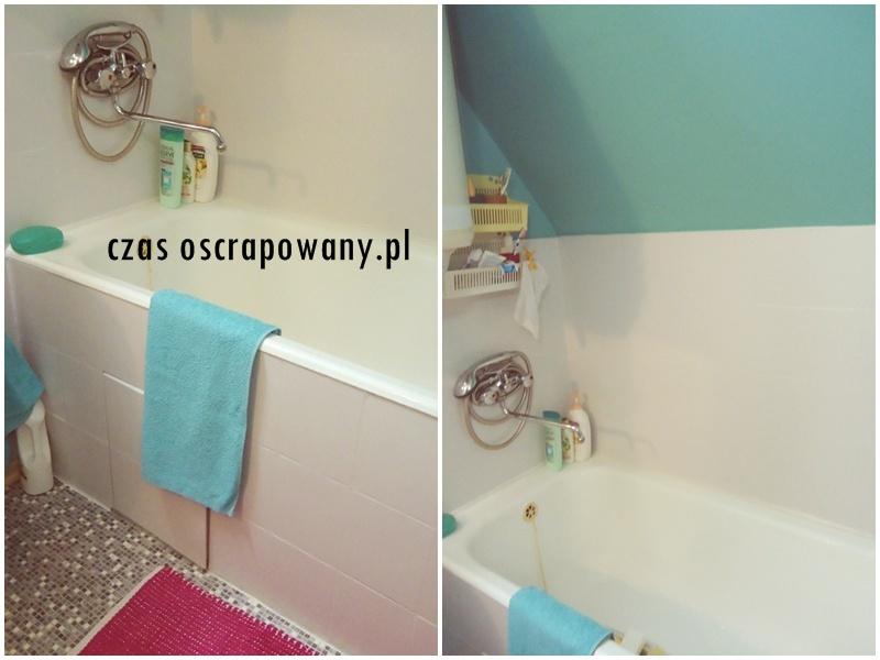 łazienka po zmianach, farby renowacyjne do glazury, tani remont i zero waste