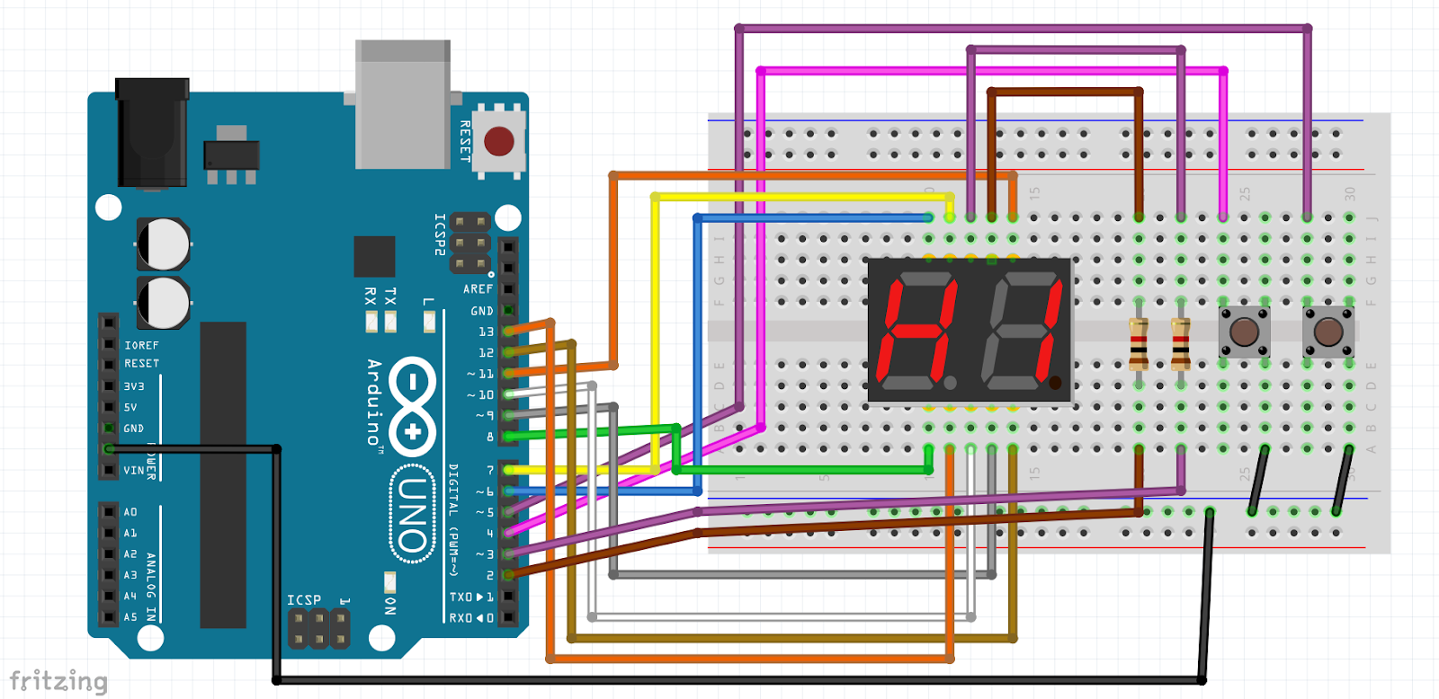 How to make Arduino push button counter with 2 Digit 7 Segment