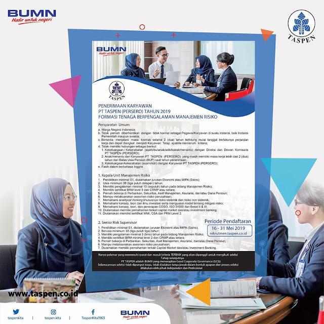 Penerimaan Karyawan PT Taspen (Persero) Tahun 2019