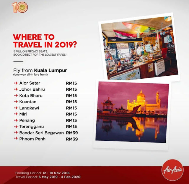 Air Asia Free Seats Promo | Travel From 6 May 2019 - 4 Feb 2020