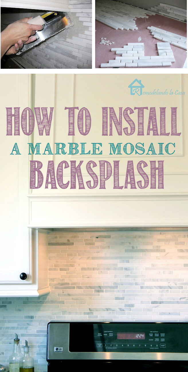 kitchen makeover on a budget with diy marble backsplash