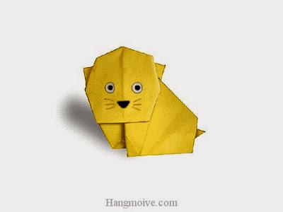Cách gấp, xếp con mèo Kitty bằng giấy origami - Video hướng dẫn xếp hình - How to make a Cat